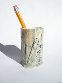 Blue and Cream Pressed Flower Ceramic Pencil Holder by ...