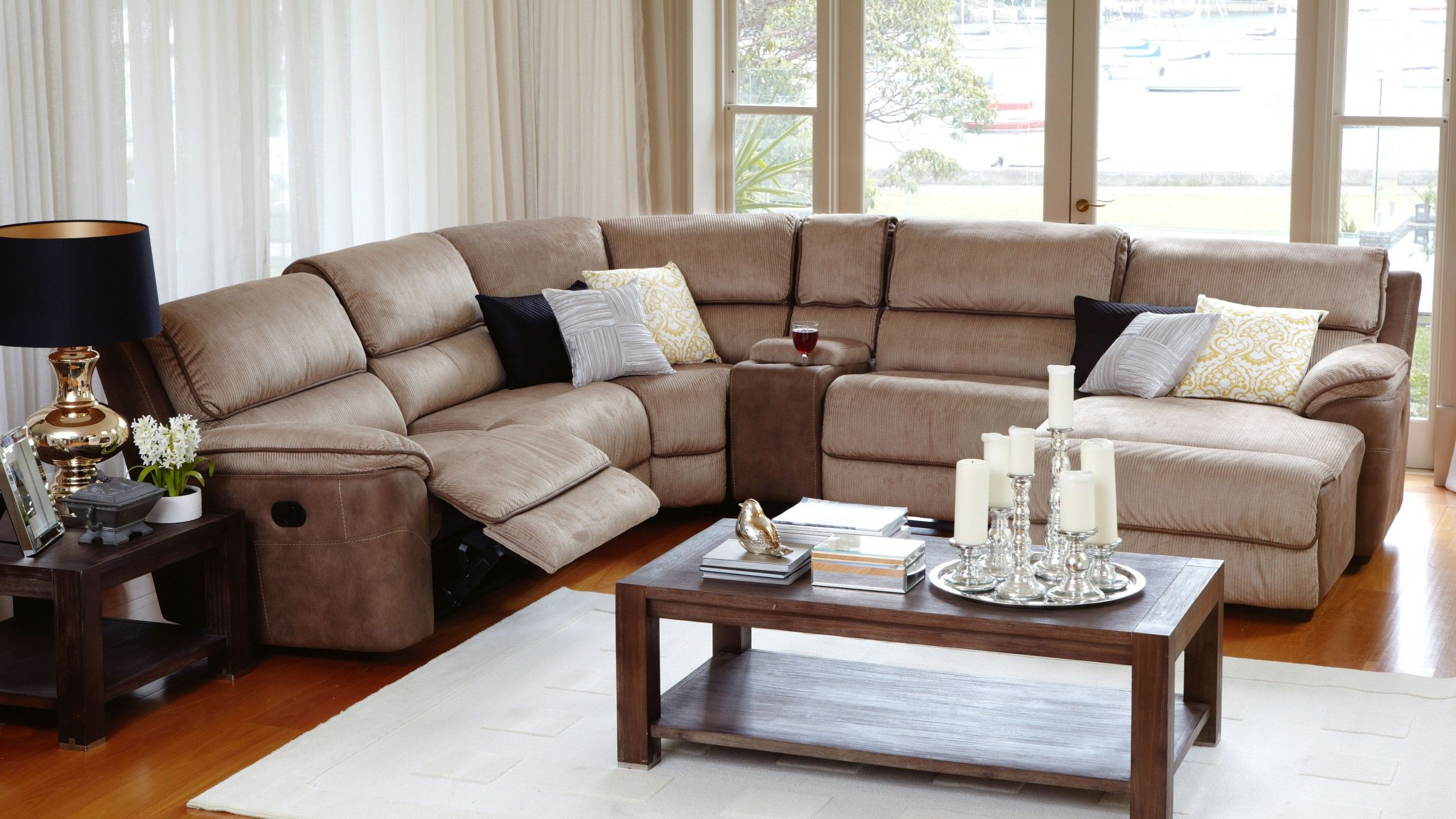 lounge suite sofa bed 2 pc chaise sectional clarke platinum bourbon modular with recliner and