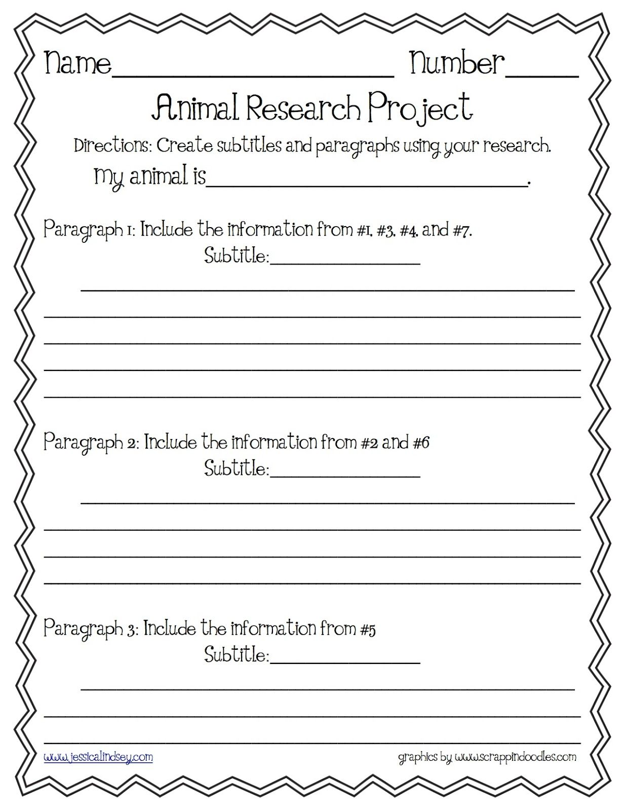 Animal Report Paragraph Organizer