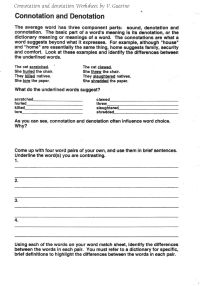 Connotation And Denotation Worksheets For Middle School ...