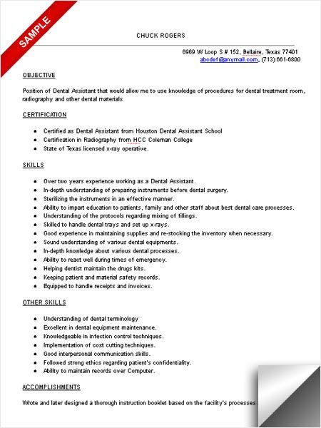 Dental Assistant Resume Sample RDA Pinterest