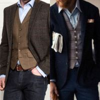 The new casual-shirt jeans vest jacket - no tie ...