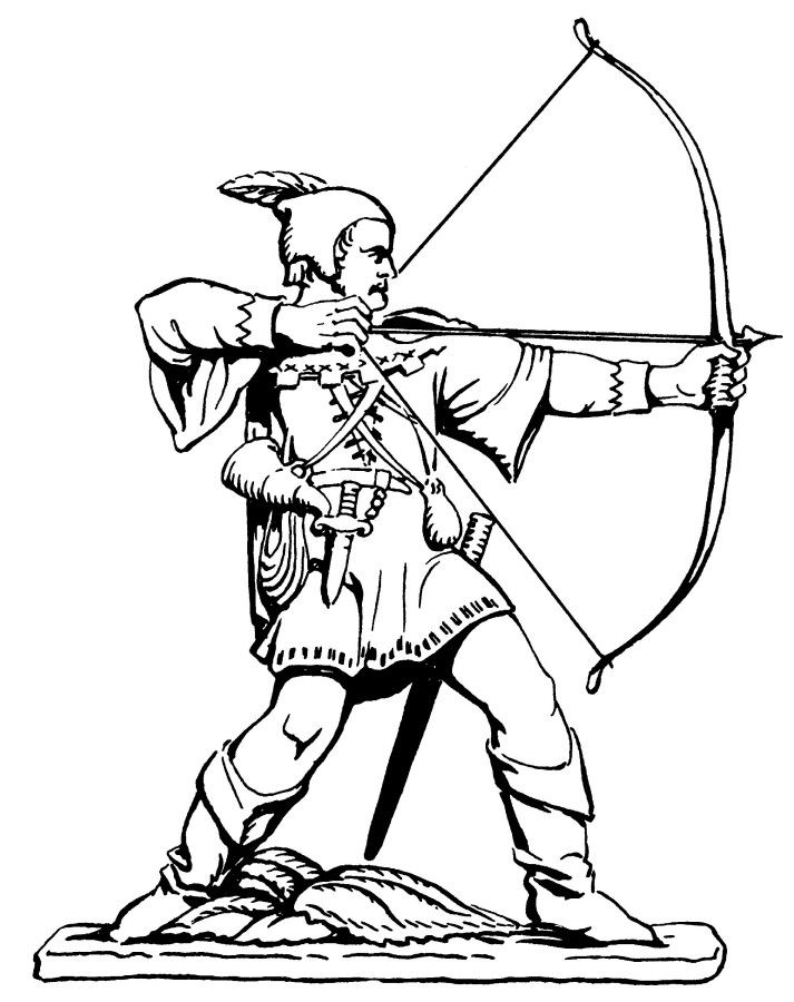 Line drawing of the Robin Hood Statue (© Nottingham City