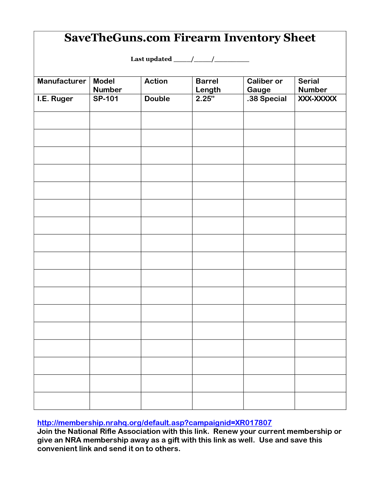 Printable Gun Inventory Form