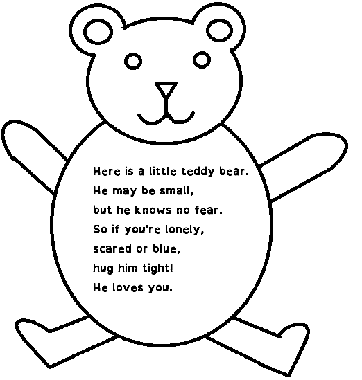 Teddy bear poem to give to children with teddy bear