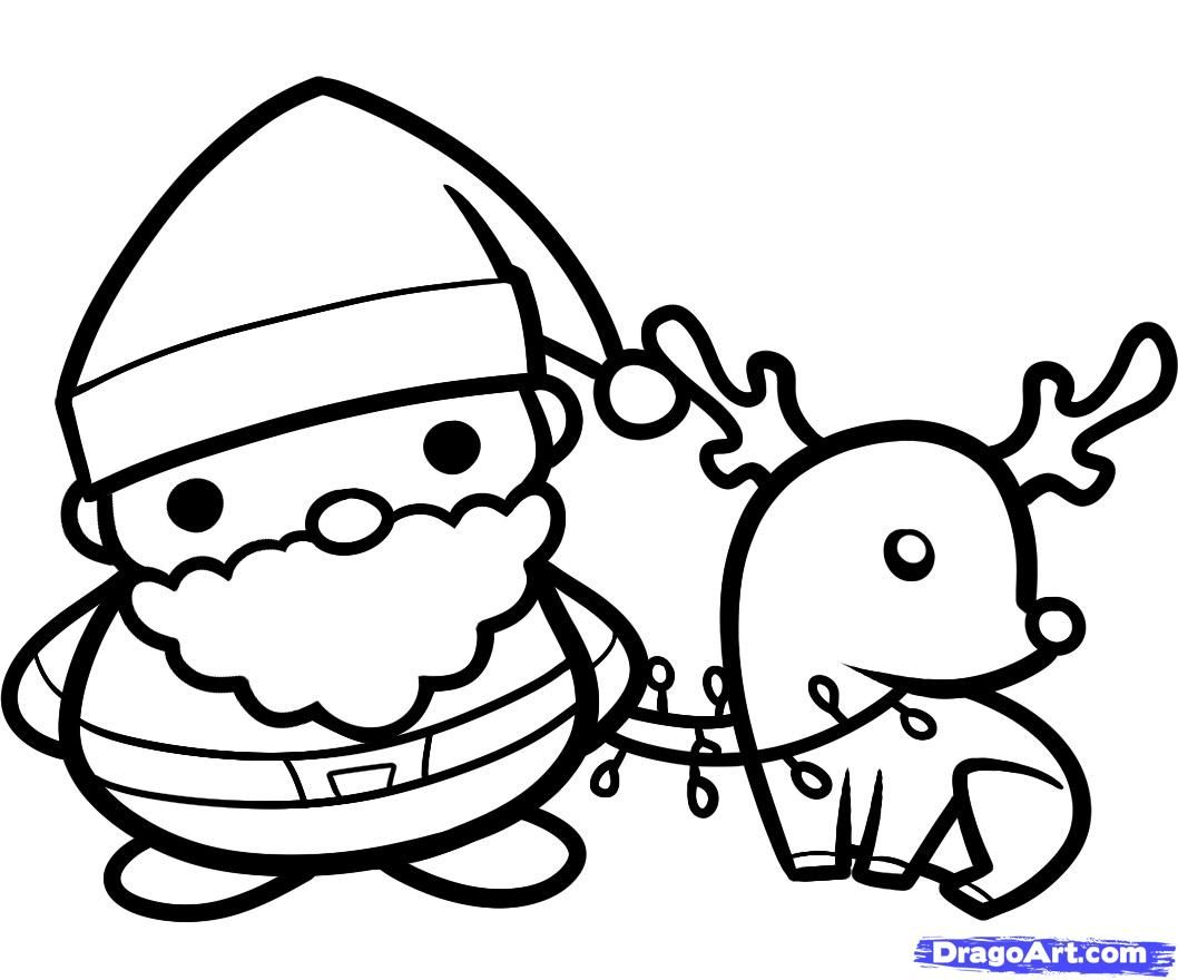 Dragoart How To Draw Santa And Rudolph