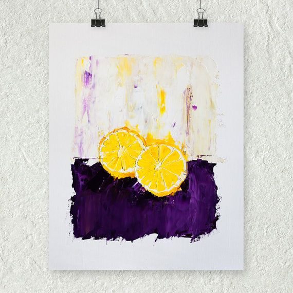 Lemon painting yellow and purple small wall art fruit by ebuchmann also rh pinterest