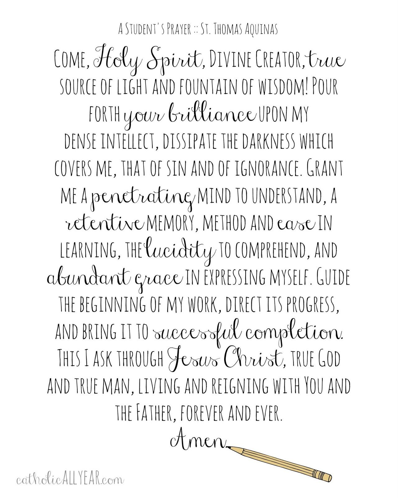 Catholic All Year A Student S Prayer Free Printable St