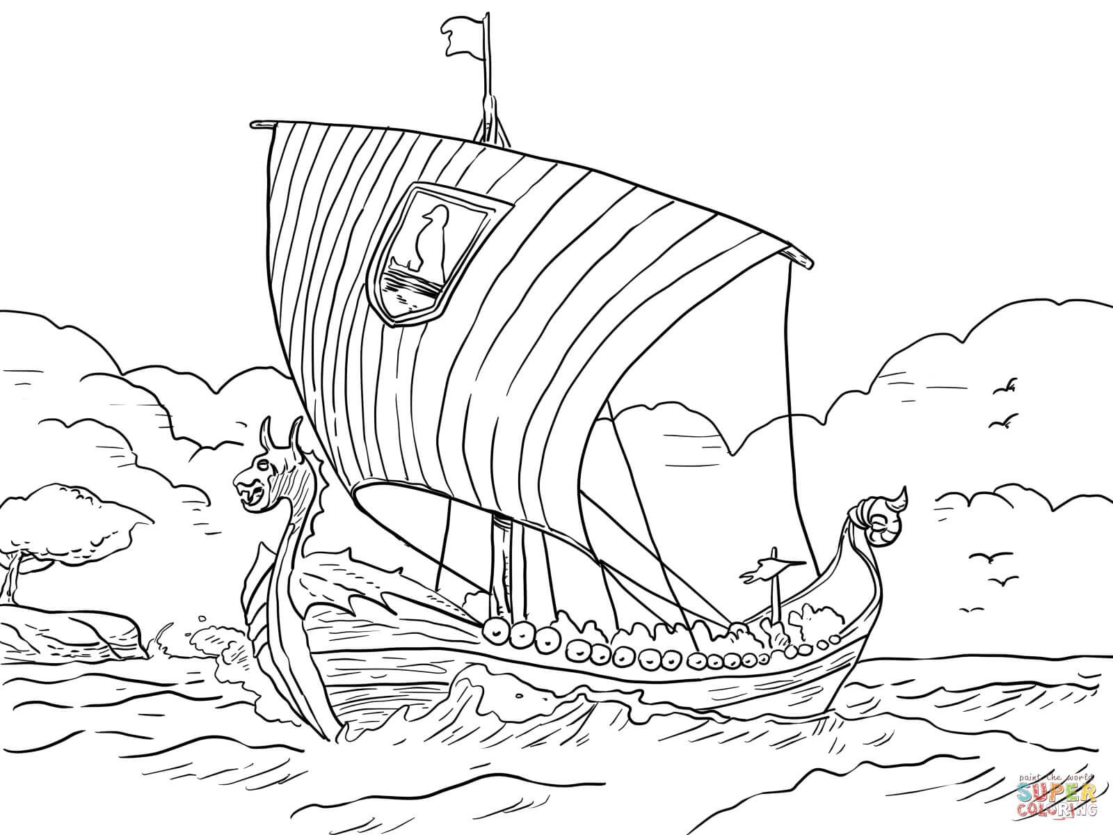 Longship Viking Sea Vessel Coloring Page