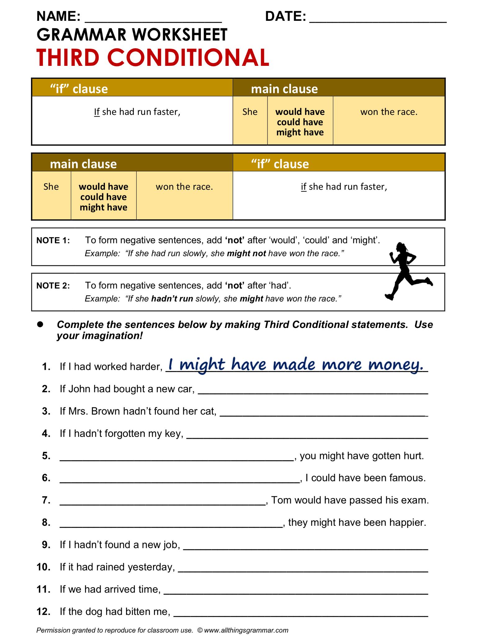 English Grammar Worksheet Third Conditional 1 2