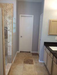 Bathroom remodel. Travertine. Tan brown granite. Grey ...