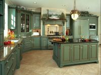 Green French country kitchen cabinets. | Blue and Green ...