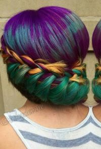 Green gold purple braided dyed hair color | Colorful Hair ...