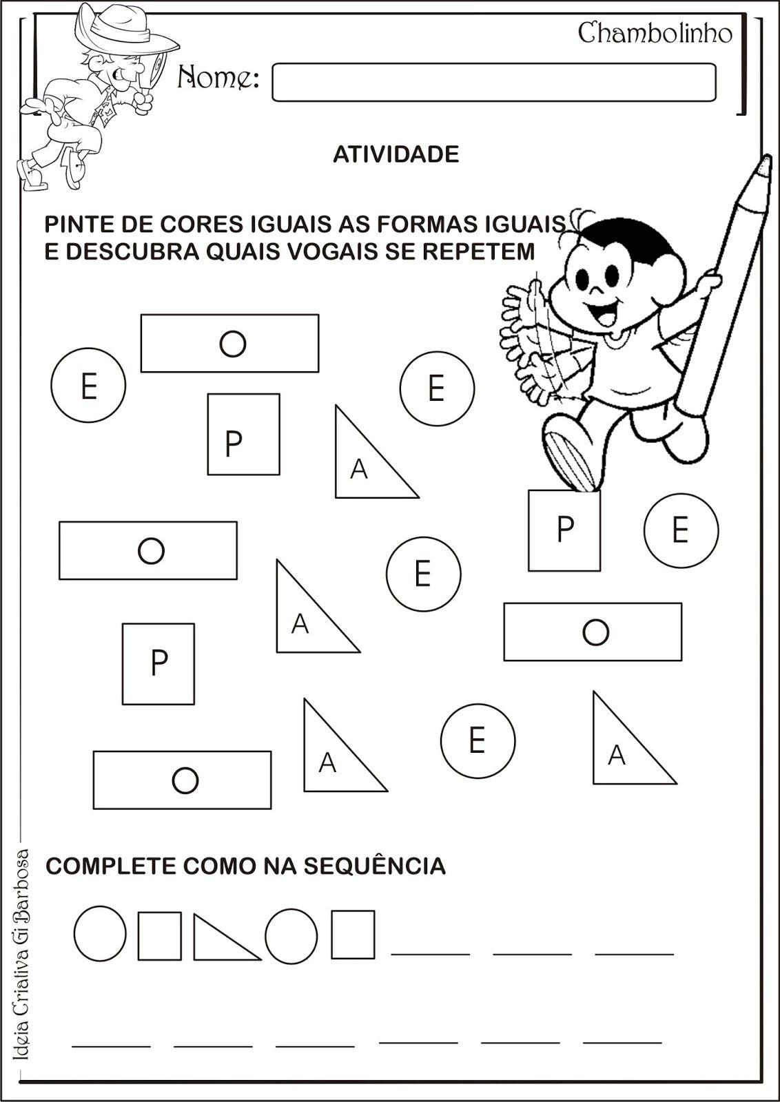 Atividade Formas Geometricas Vogais E Sequencia