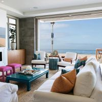 California Beach house living room with clean lines, pops ...