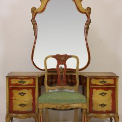 Antique Vanity Chair Leather Parson Dining Chairs Robert W Irwin Hand Painted Desk