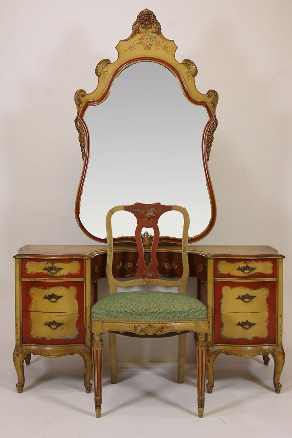 Antique Robert Irwin Hand Painted Vanity Desk Chair