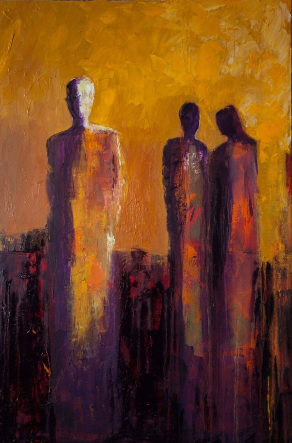 """""""stepping """" Shelby Mcquilkin Abstract Figurative Oil Painting"""
