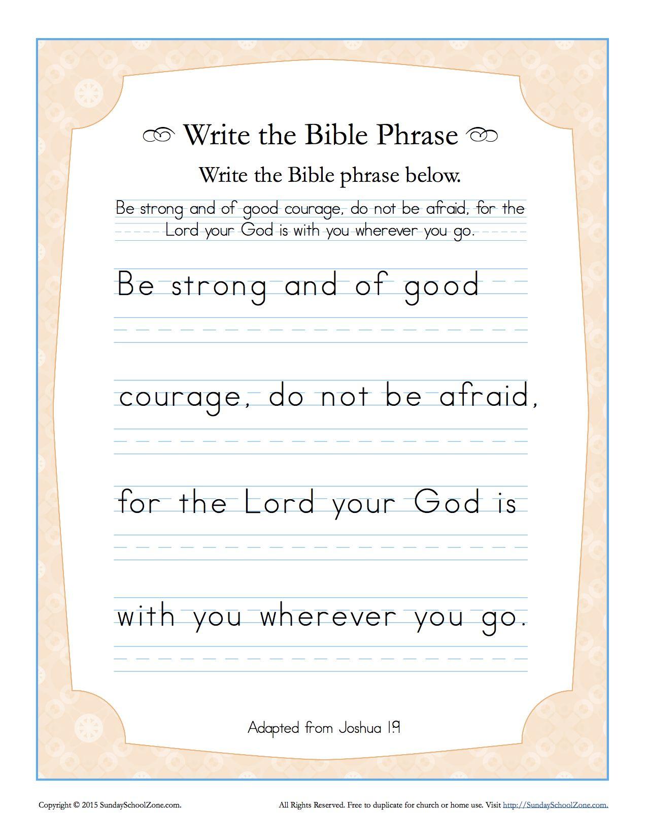 Joshua 1 9 Write The Bible Phrase Worksheet