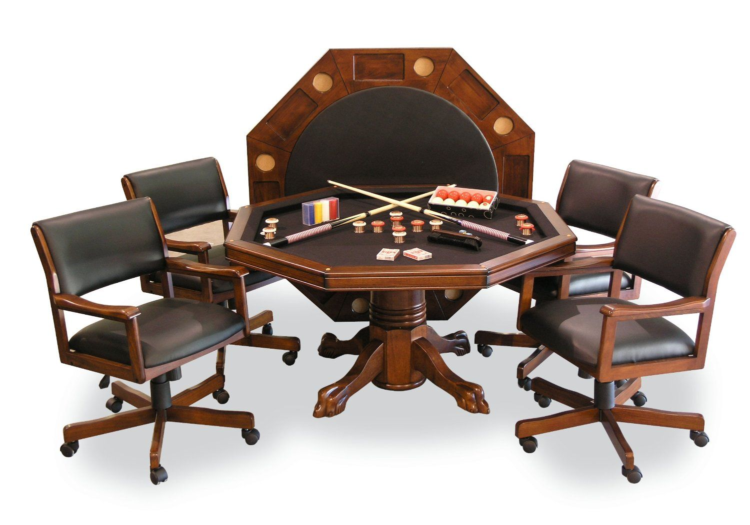 Poker Table And Chairs Signature Combination Game Table Set W 4 Chairs