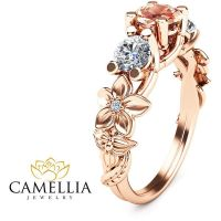 Three stone ring 14K Rose Gold Morganite Ring,Camellia