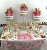 Pink & Gold Princess Candy Buffet Diaper Cake Centerpiece