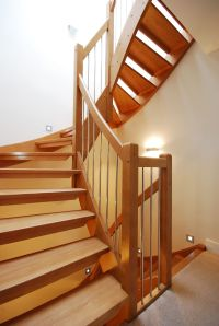 Fancy and modern wooden staircase