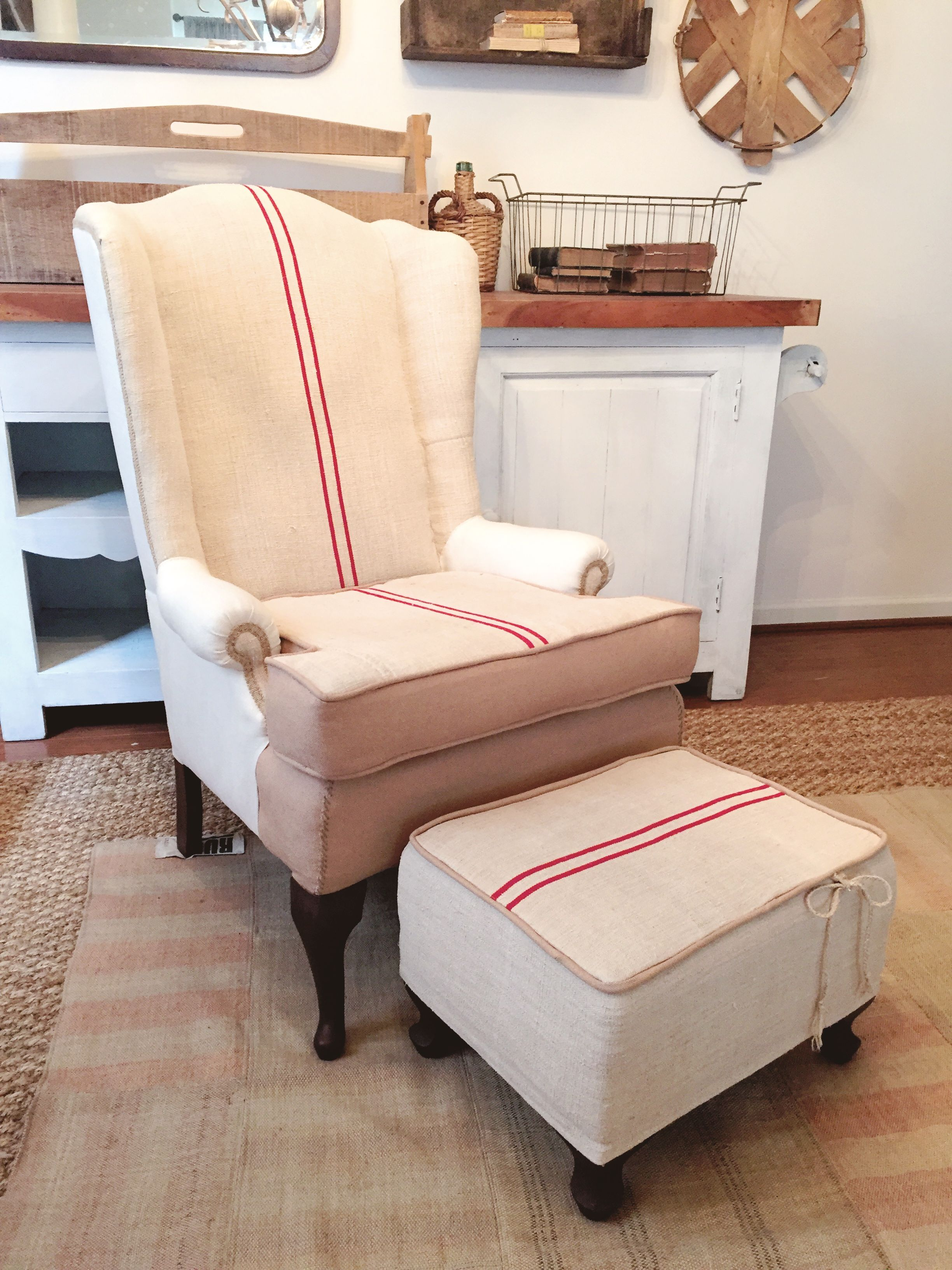 Grain Sack Chair Grain Sack Chair Ottoman Chalkandfable Grainsack Wingback