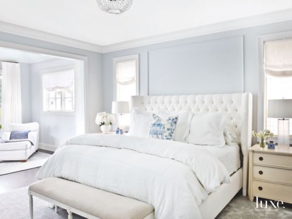 simple light blue walls master bedroom Soft Light Blue Master Bedroom with Blue Pillow Touches