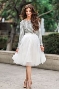 White Tulle Midi Skirt, Tulle Skirts for Women, Midi ...