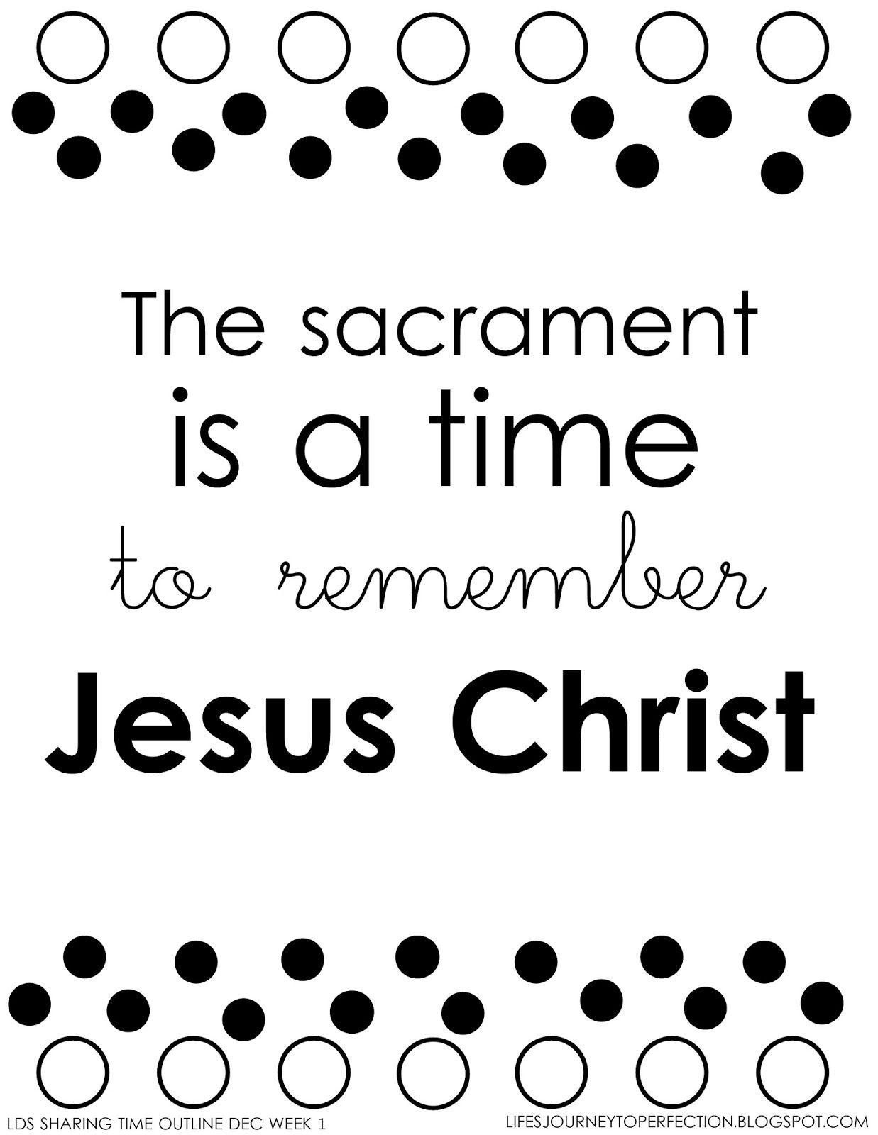 LDS Sharing Time December 2014 Week 1: The sacrament is a