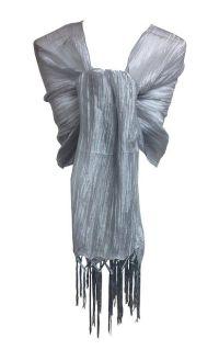 Ladies Stunning Silver Sheer Shimmer Wrap Shawl Scarf ...