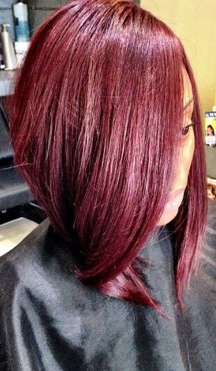 Sleek Burgundy Bob Urban Hairstyles ● Natural Hair ● Sew In
