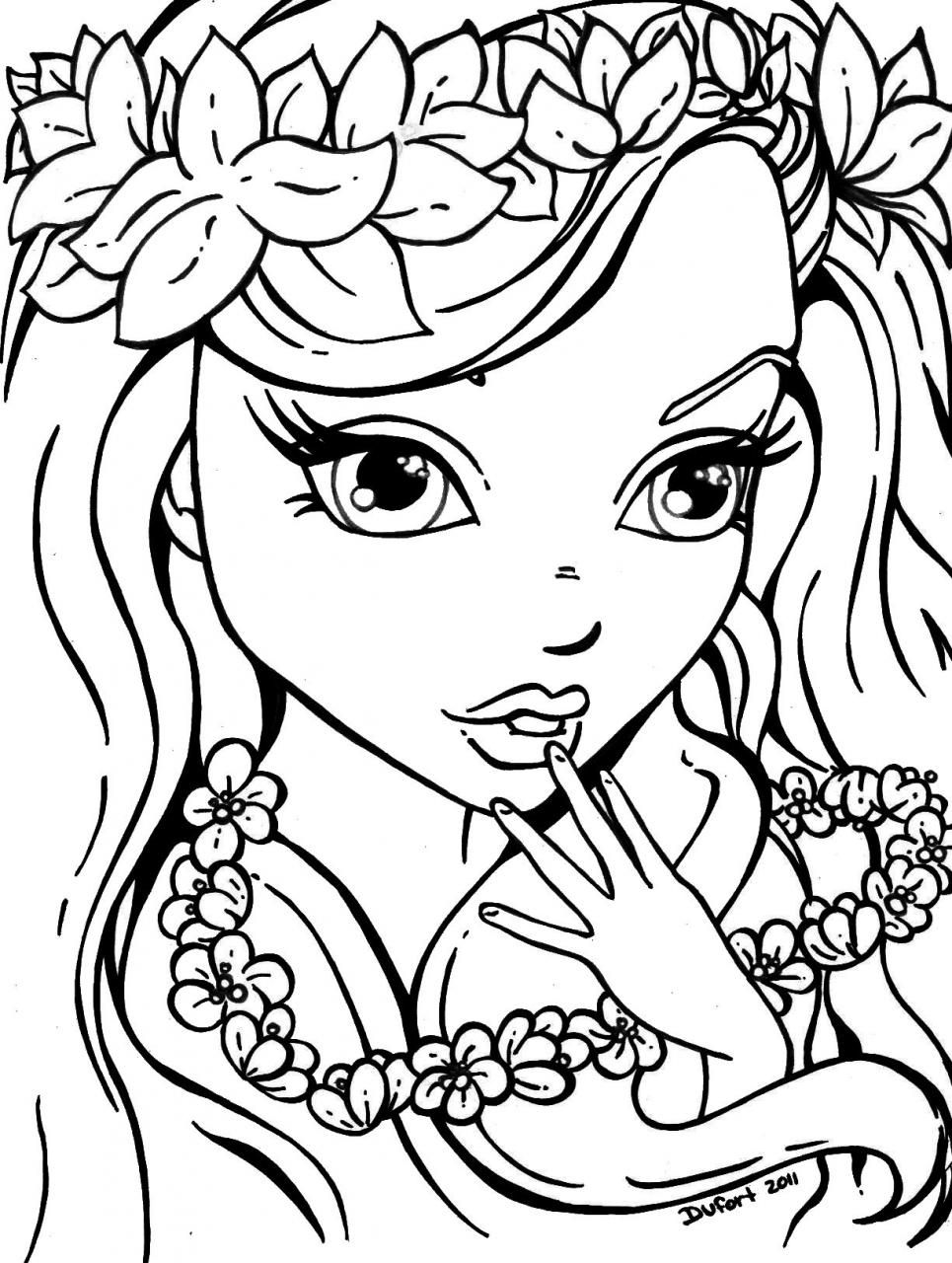 Printable Girl Coloring Pages Adult Coloring Pages Pinterest