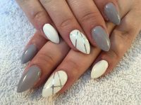 White and gray purple almond shaped nails with striping ...