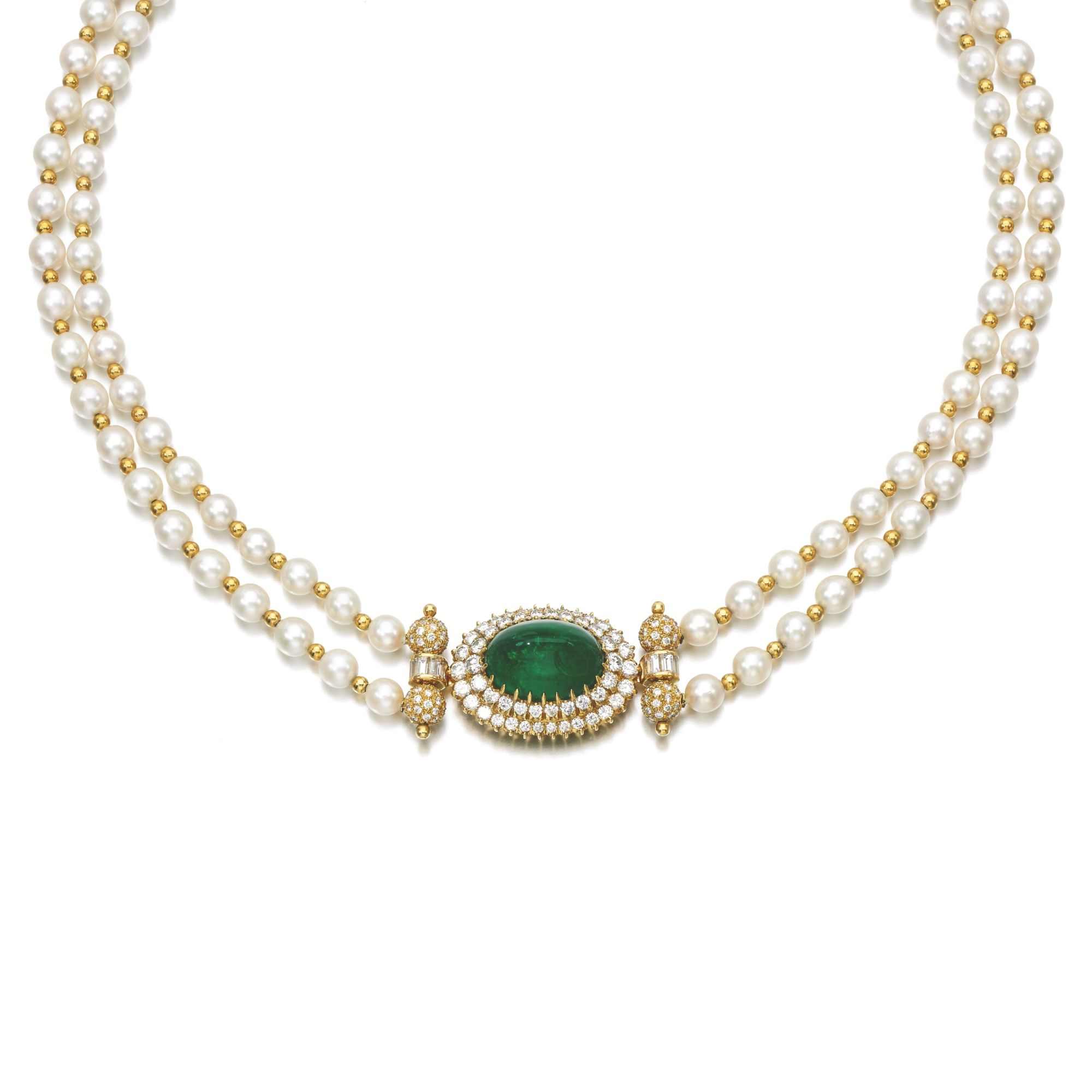 CULTURED PEARL EMERALD AND DIAMOND NECKLACE Designed as