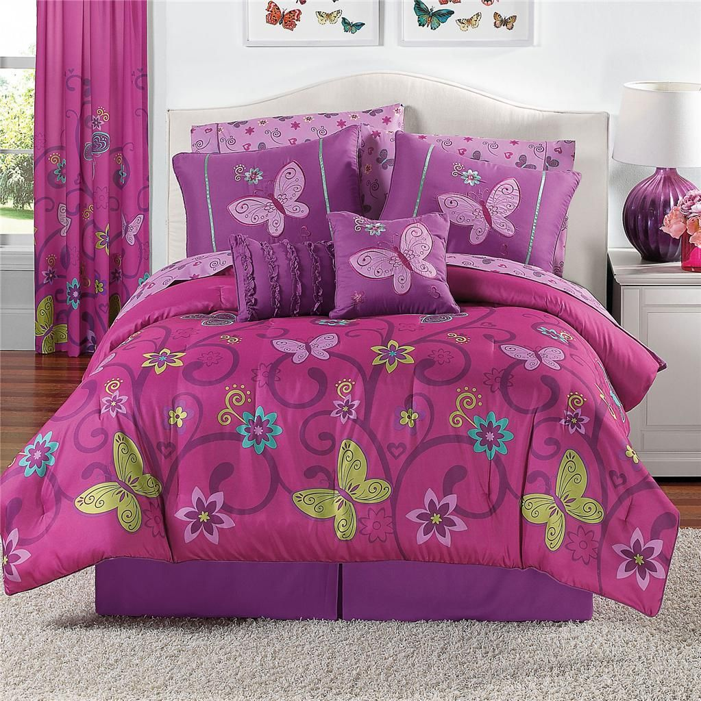 Details about 10 PIECE Girls Comforter Bedding Set PINK