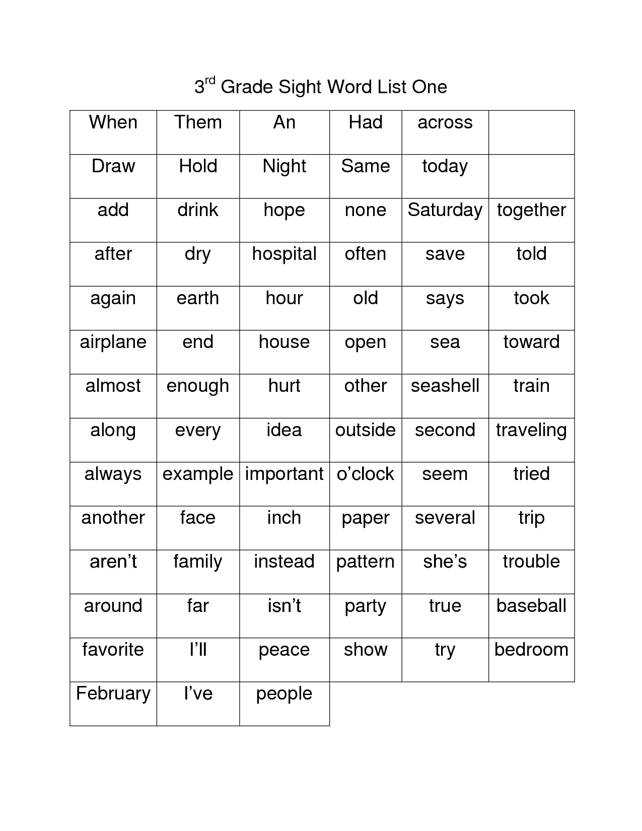 Third Grade Spelling Words