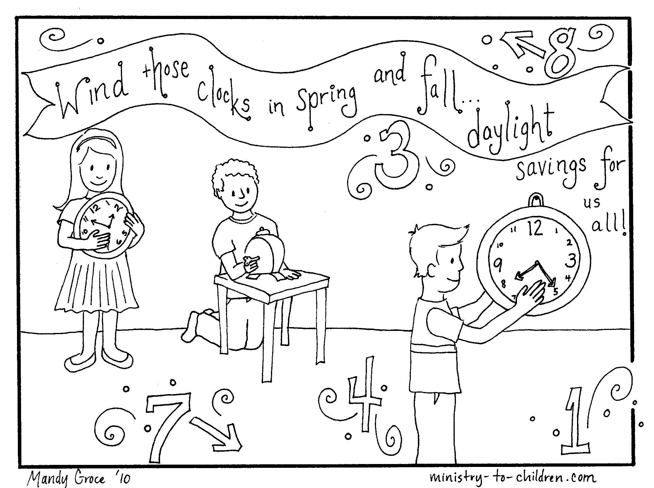 Coloring page about daylight savings time http://ministry