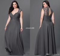 Gray Chiffon Plus Size Bridesmaid Dresses 2016 Sexy Open ...