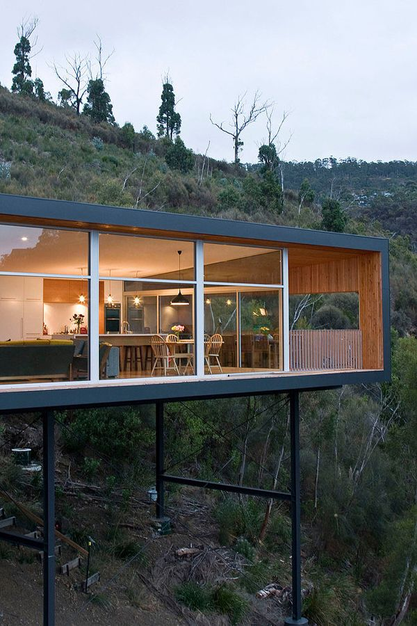 Modern Pad Floats Along Sheer Slopes In Tasmania Highway House
