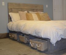 Platform Bed With Baskets And Rustic Wood