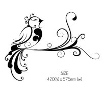 Curly Tail Bird Floral Wall Sticker Decal Wall Art ...