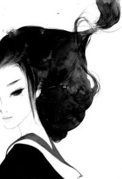 painting geisha in black and white