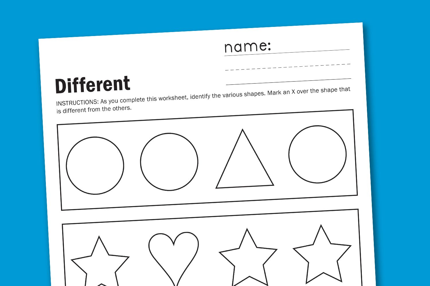 Toddler Worksheet Different Shapes