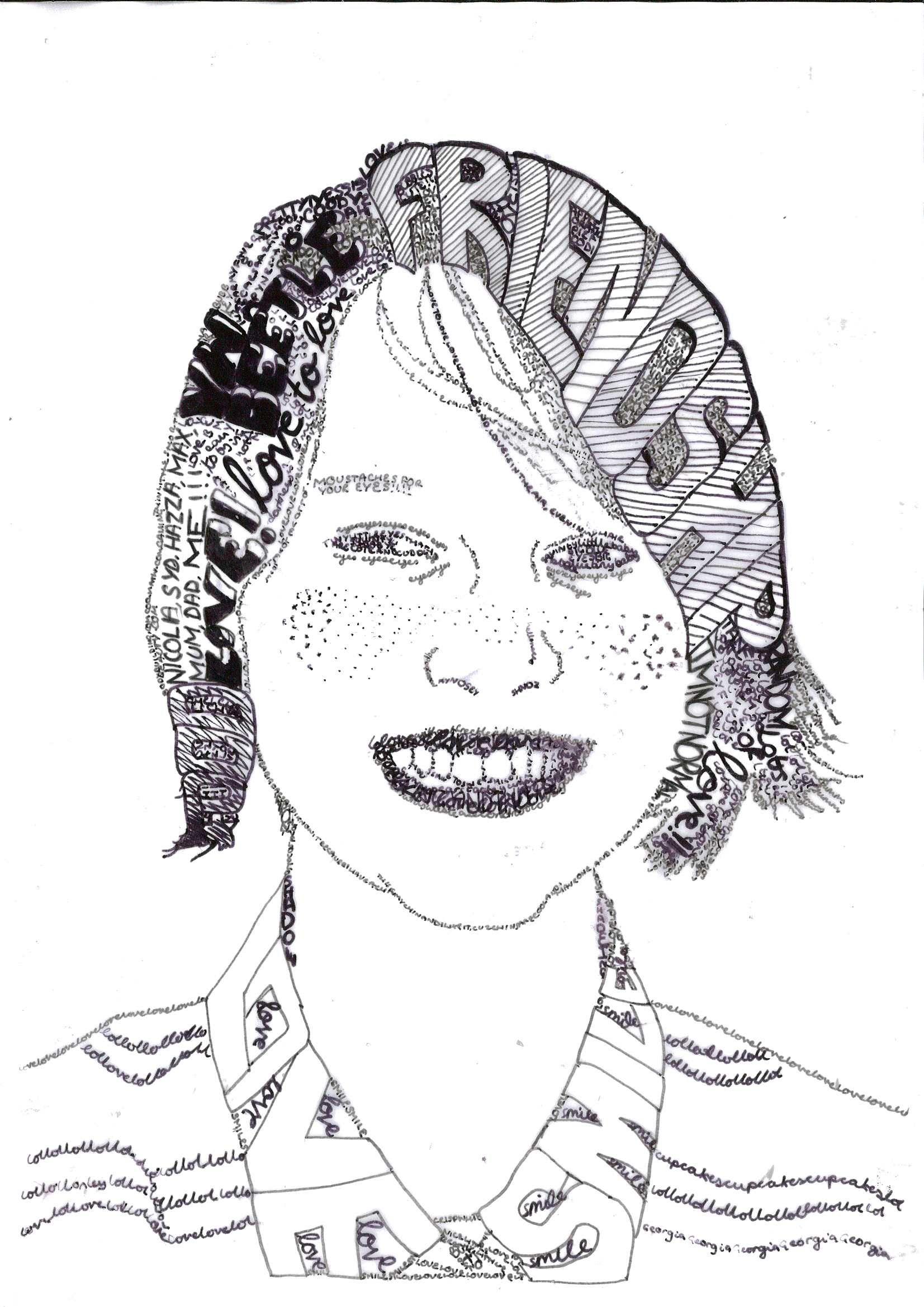 Calligram Portrait! Words to express yourself! (Miss Allen