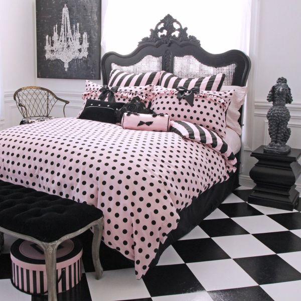 Pink and Black Polka Dot Comforter