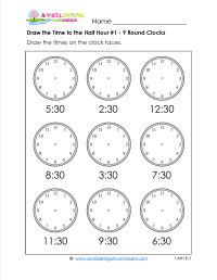 Draw the Time to the Half Hour - Telling time worksheets ...