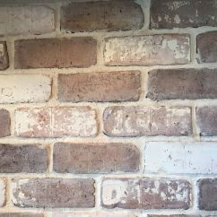 Brick Backsplash In Kitchen Cabinet Parts Do It Yourself Veneer White Wash
