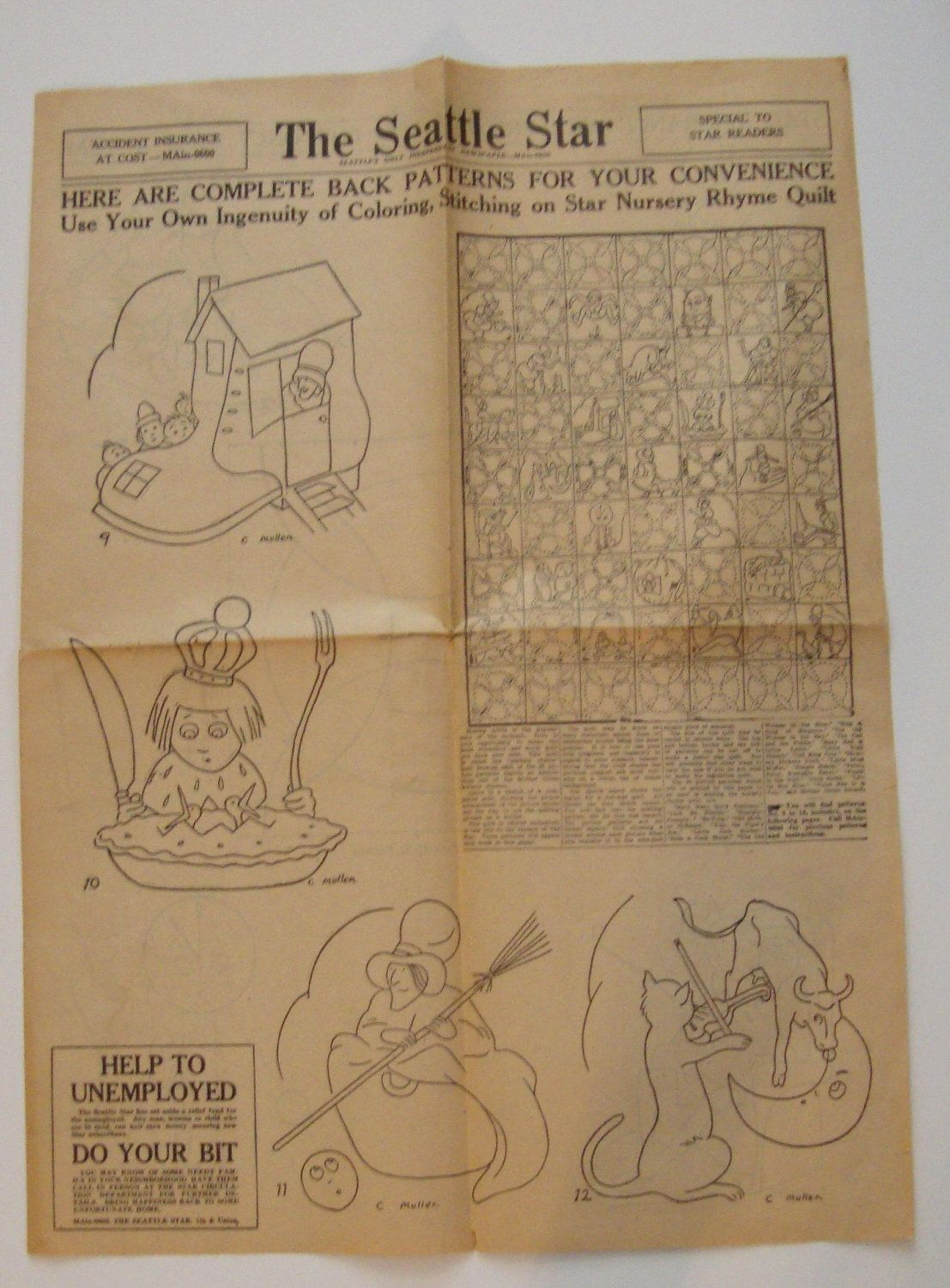 Rare S Vintage Mother Goose Nursery Rhyme Embroidery Quilt Pattern From Etsy